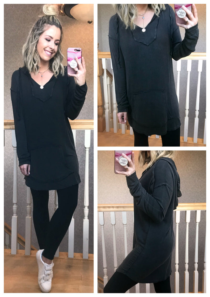 Mineral Washed Tunic Hoodie - Madison + Mallory