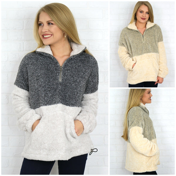 Gray / S Two Tone 1/4 Zip Super Soft Pullover - Madison + Mallory