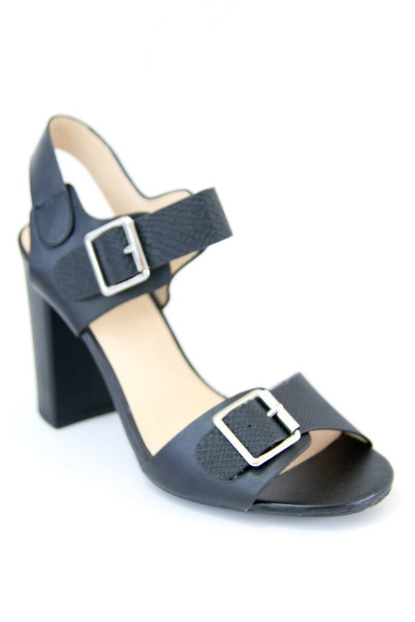 Black Sling Back Block Heel - Madison + Mallory