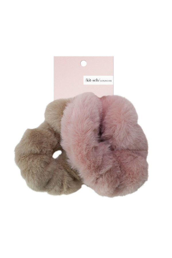 OS / Blush/Mauve Faux Fur Scrunchies | Blush or Gray - Madison + Mallory