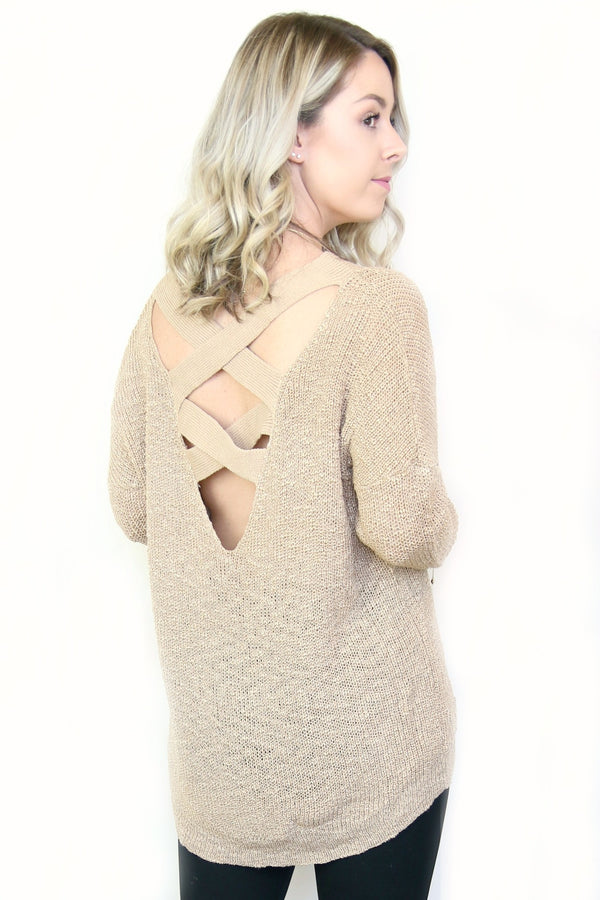 Knit Cross Back Sweater - Madison + Mallory