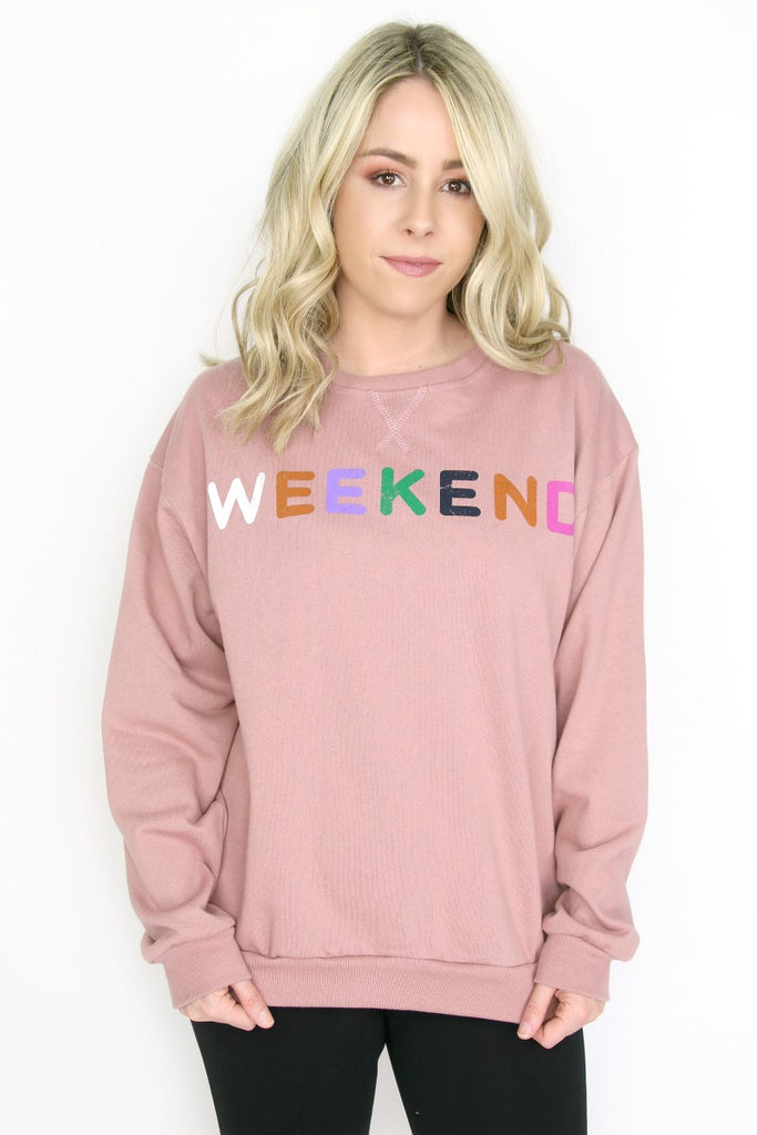 Weekend Colorful Print Sweatshirt