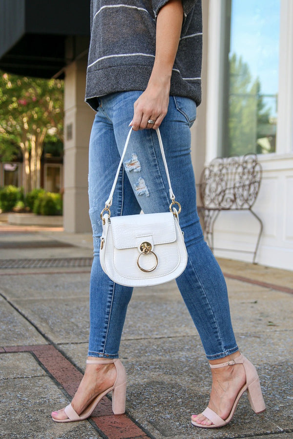 Velasco Ring Saddle Crossbody Bag - White - Madison + Mallory