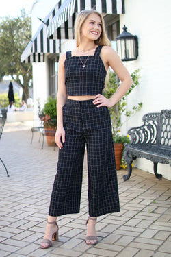 Wide Leg Checkered Pants - Madison + Mallory