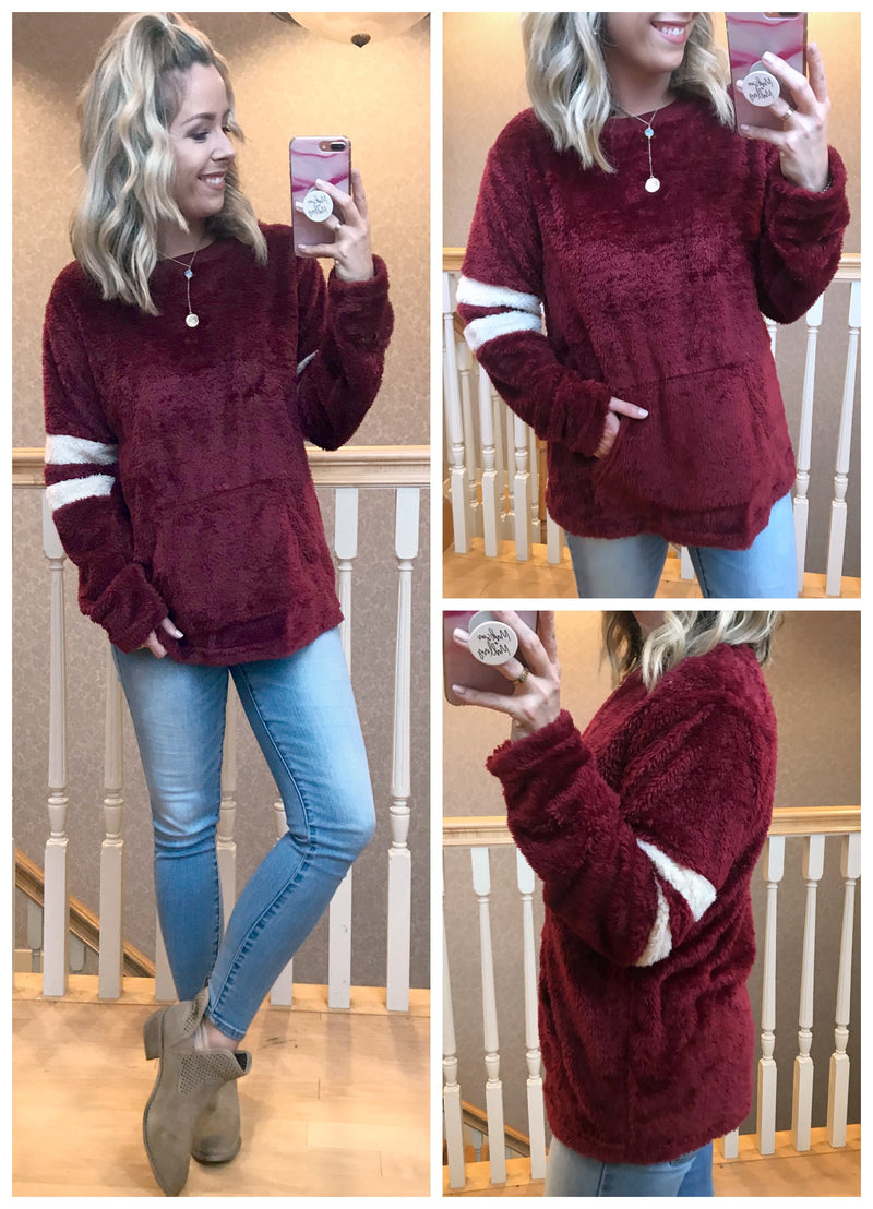 S / Burgundy Fuzzy Feels Varsity Pullover - Madison + Mallory