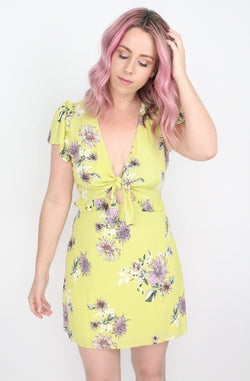 S / Lemon Knot Front Floral Dress - Madison + Mallory