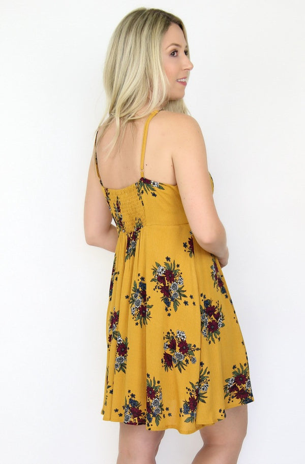 Floral Tie Front Dress - Madison + Mallory