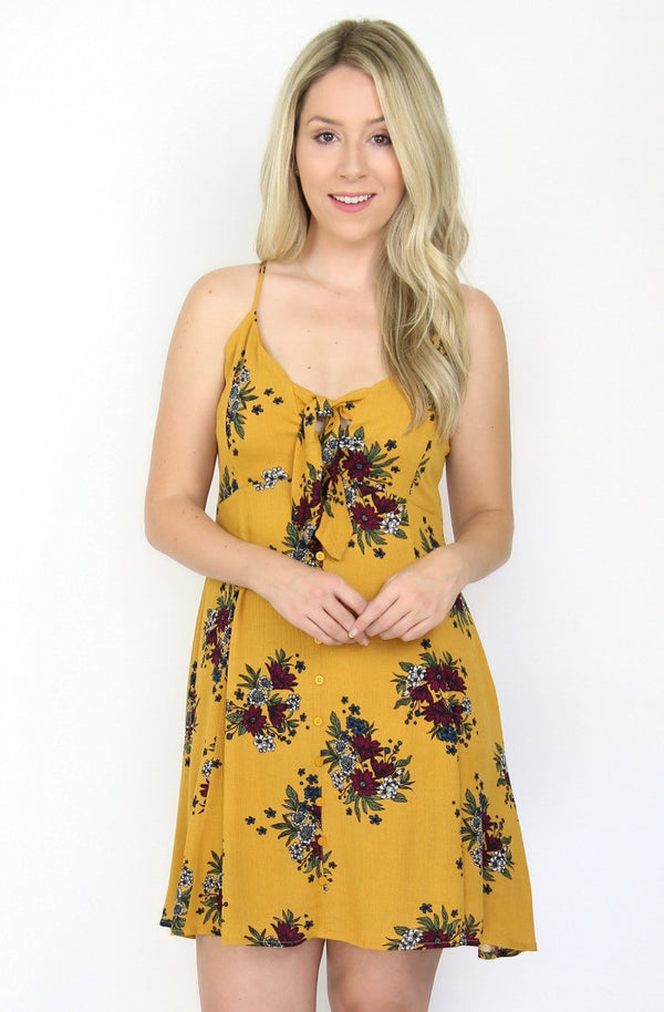 S / Mustard Floral Tie Front Dress - Madison + Mallory