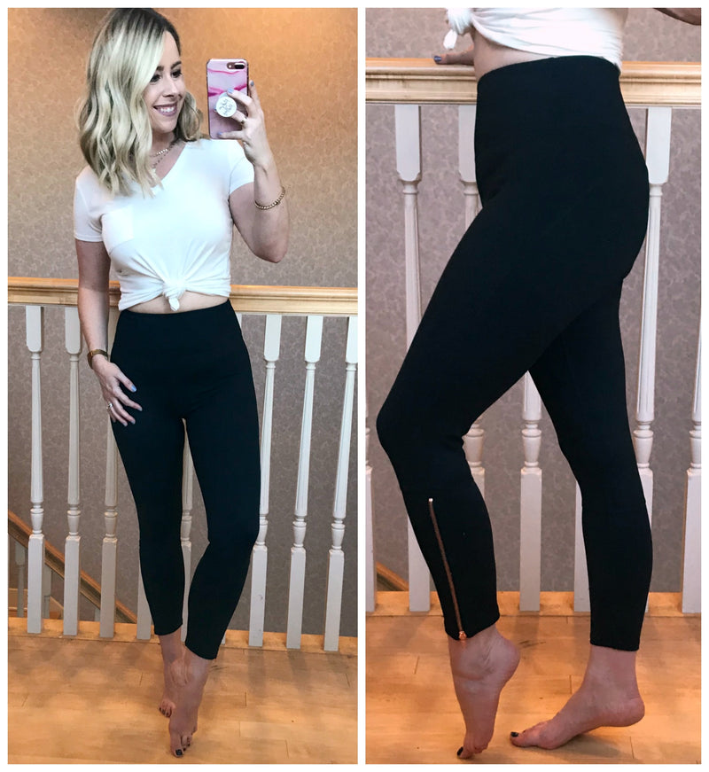 Rose Gold Zipper Leggings - Madison + Mallory