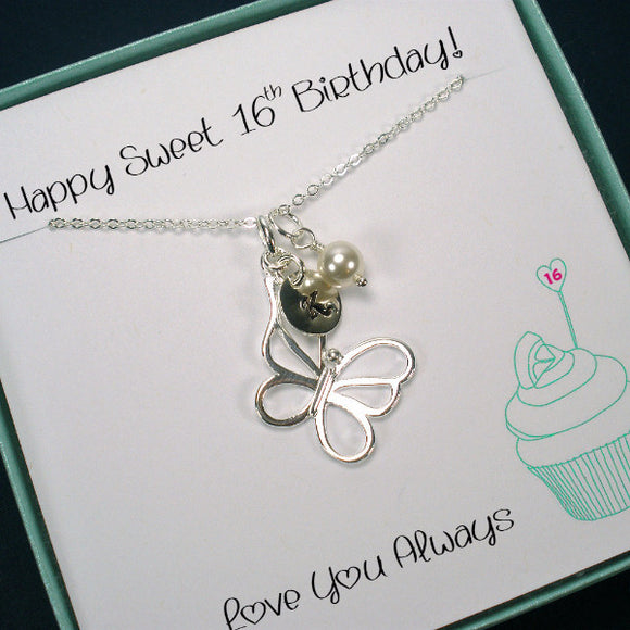 sweet 16 birthday gift, butterfly initial necklace silver