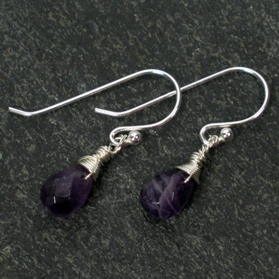 amethyst dangle earrings wire wrapped gemstone sterling silver