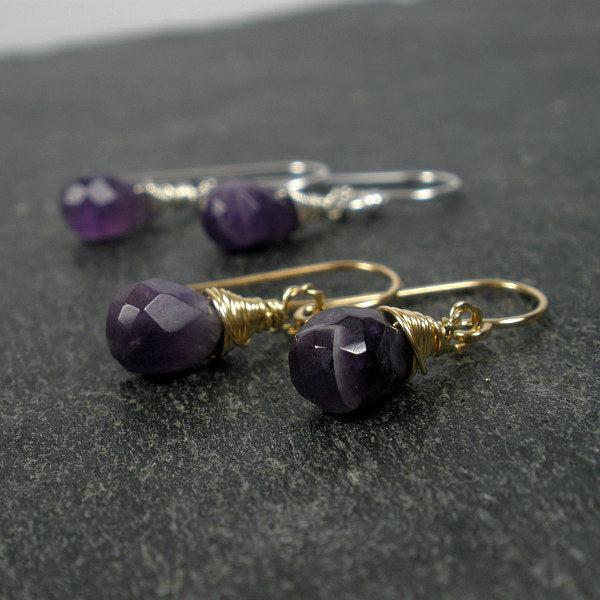 amethyst gemstone earrings gold dangle drop earrings
