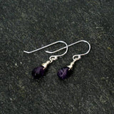 amethyst dangle earrings wrapped sterling silver