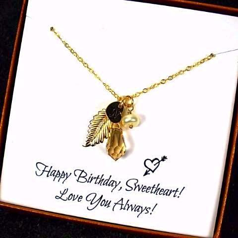 birthday gift for her gold leaf necklace initial