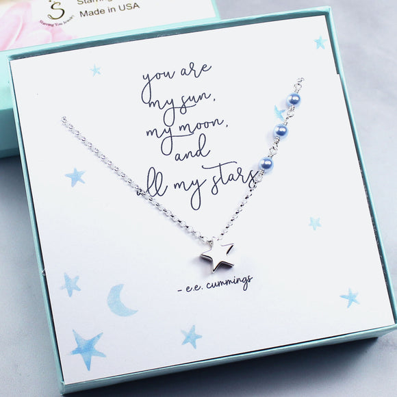 Gift for Her | Star Charm Necklace, Swarovski Crystal Pearls, Sterling Silver