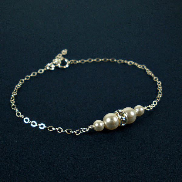 bridal pearl wedding jewelry full set bracelet swarovski silver