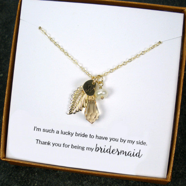 personalized bridesmaid gift set maid of honor gold initial necklace leaf wedding party jewelry