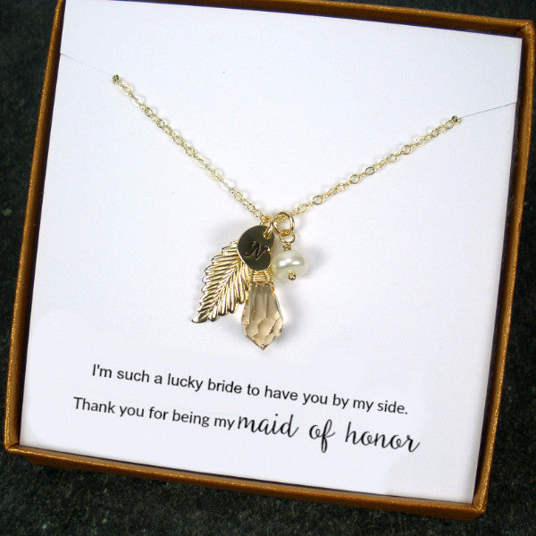 personalized maid of honor gift gold initial necklace wedding jewelry