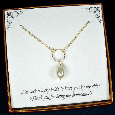 bridesmaid single pearl necklace wedding party gifts gold Swarovski