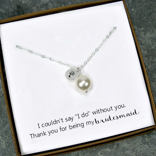 personalized bridesmaid gift set single pearl necklace silver