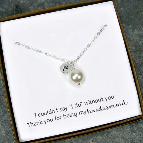 bridesmaid initial pearl necklace gift for maid of honor matron