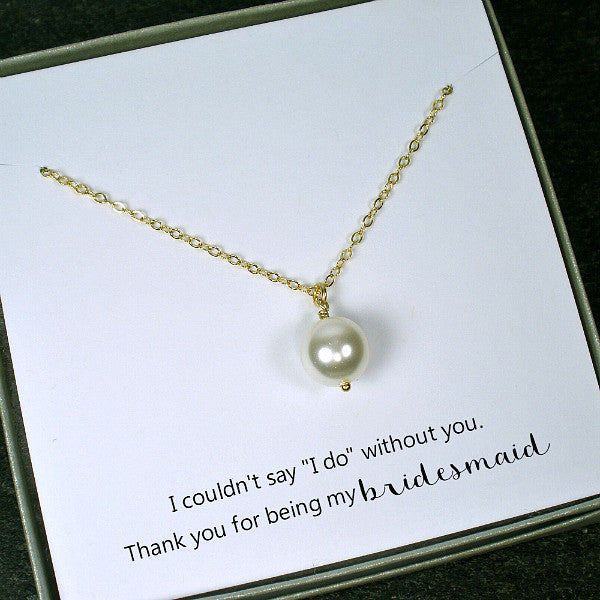 bridesmaid gift set pearl jewelry pearl necklace wedding bridal gold silver
