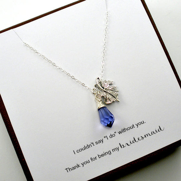 Bridesmaid Matron Maid of Honor Gift Leaf Necklace Silver