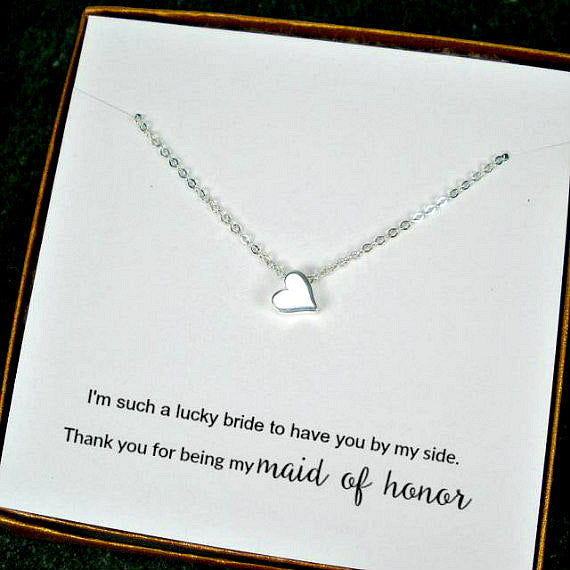 bridesmaid necklaces bridal party gift simple silver necklace