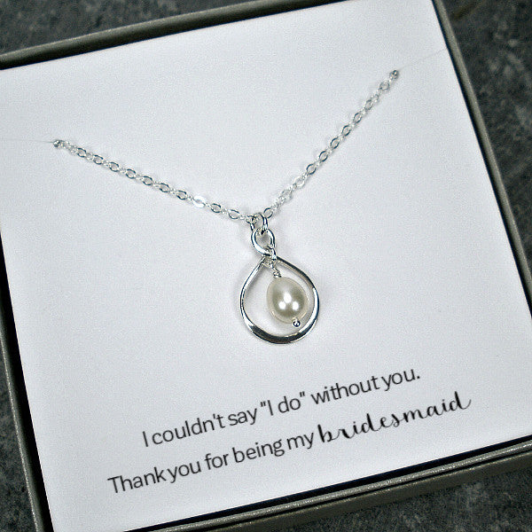 bridesmaid gift set infinity pearl necklace wedding sterling silver