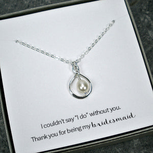 bridesmaid gift set infinity pearl necklace wedding silver