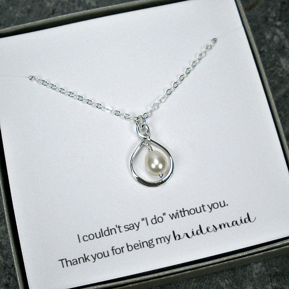 bridesmaid gift pearl drop necklace