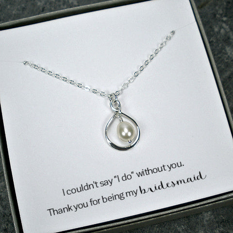 Bridesmaid Gift Set: Infinity Freshwater Pearl Necklace, Sterling Silver