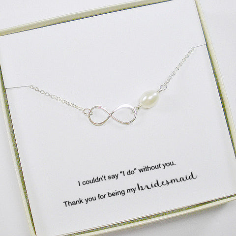 Wedding Party Gift: Bridesmaid Infinity Necklace, Sterling Silver