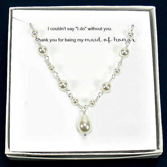 bridesmaid pearl necklace bridal party gift silver Swarovski pearl