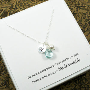 personalized bridal party necklace gift silver
