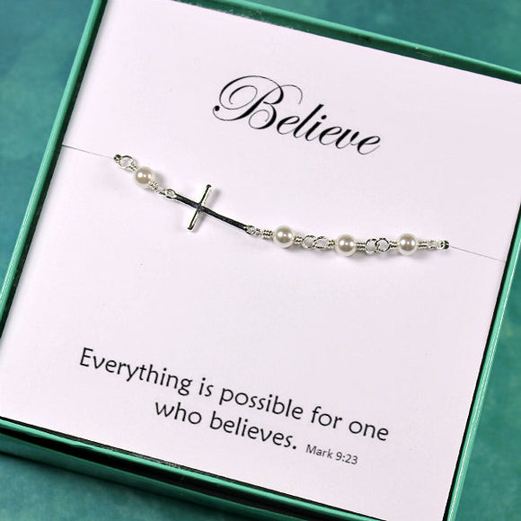 Christian gifts sideways cross bracelet