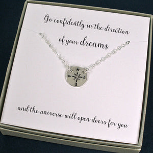 graduation gifts new job gifts silver compass necklace