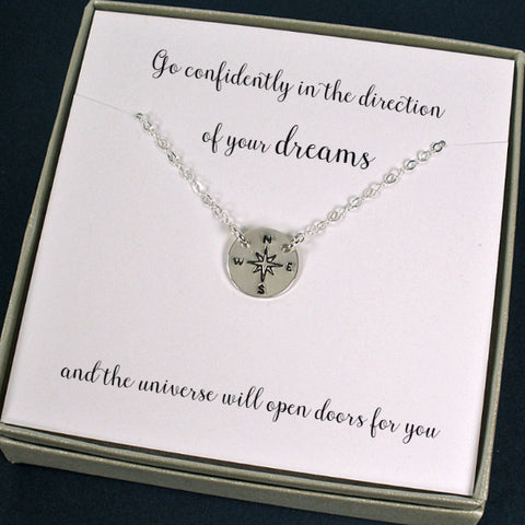 High School College Graduation Gift new job Compass Necklace Sterling Silver handmade