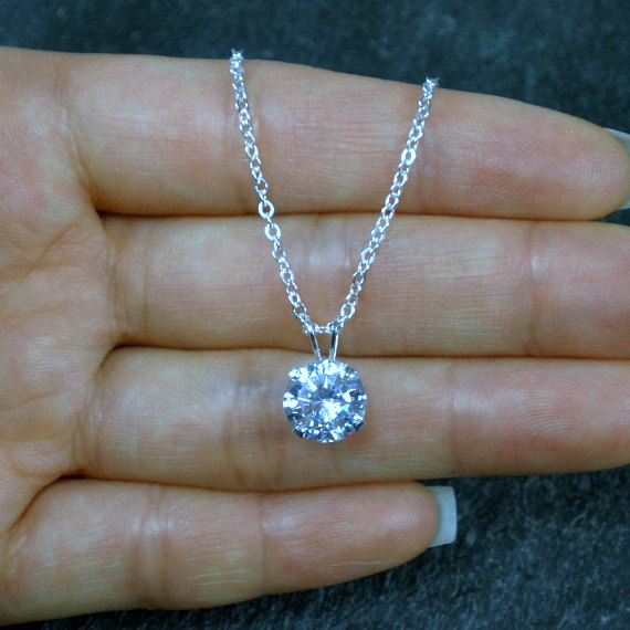 solitaire cubic zirconia necklace sterling silver