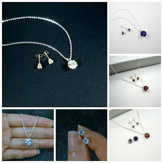 sterling silver cubic zirconia jewelry set