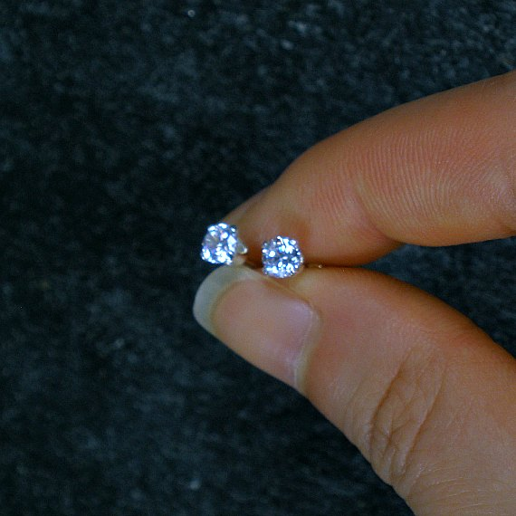 cubic zirconia stud earrings sterling silver