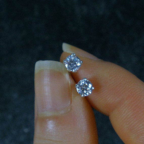 cubic zirconia stud earrings clear cz red purple silver