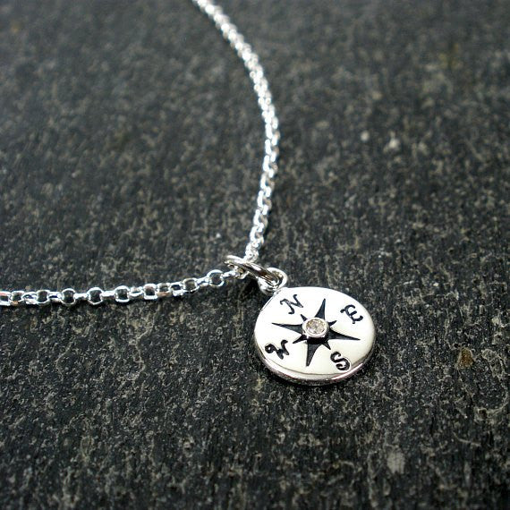 graduation gifts for her diamond compass necklace message card jewelry