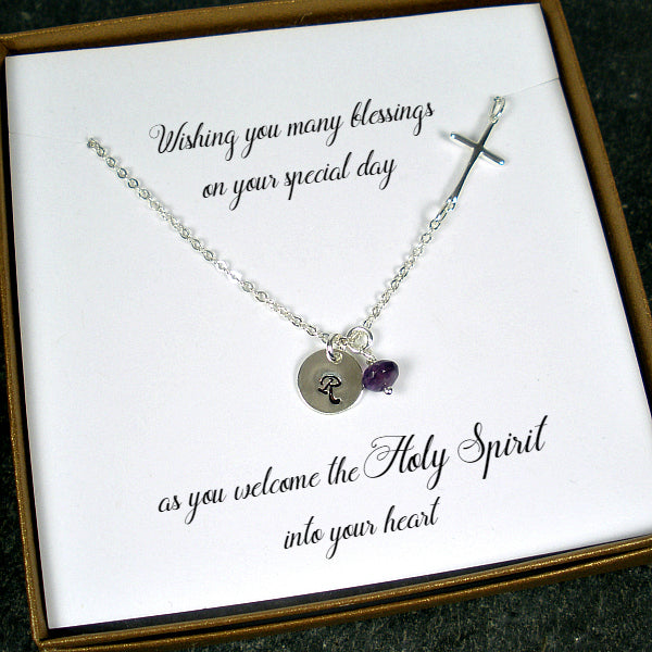 first communion confirmation gifts for girl cross initial necklace silver