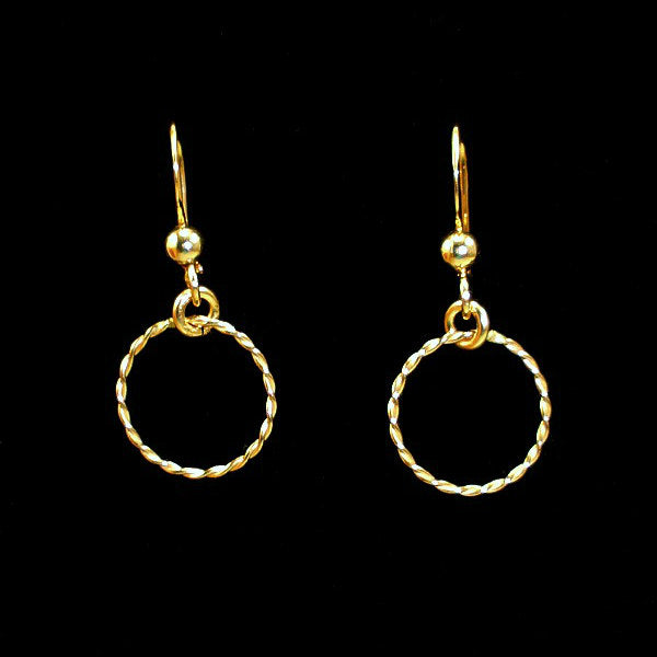 Gold Circle Earrings Dainty Simple Minimal Earrings
