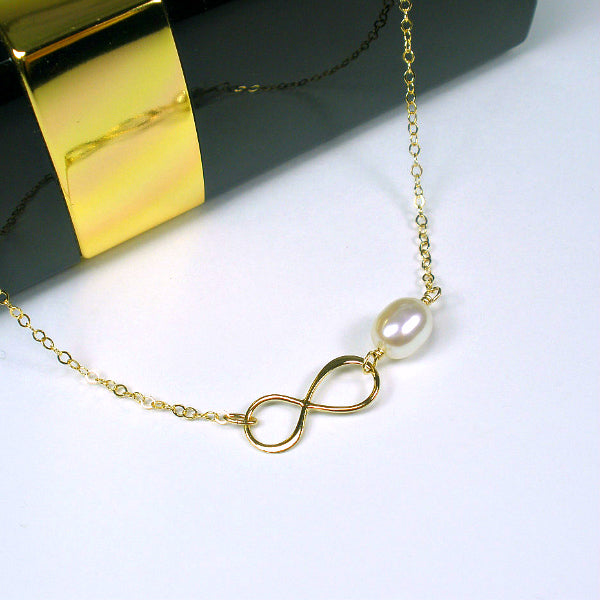 best friend jewelry infinity pearl necklace gold