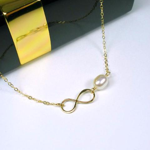 gold infinity pearl necklace trendy womens accessory