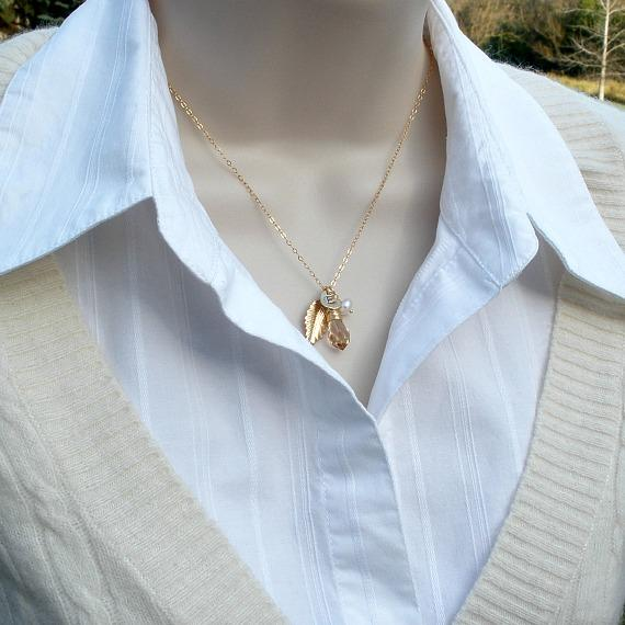 crystal initial necklace gold leaf