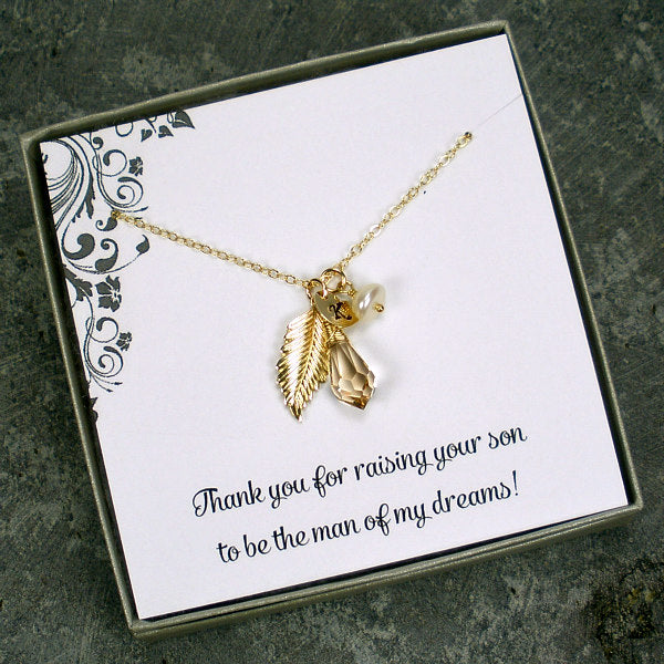 mother in law wedding gift personalized gold necklace