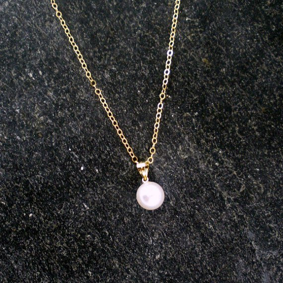 gold pearl drop necklace simple single floating pearl wedding gift